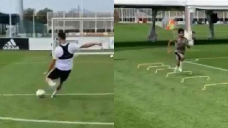 Assim treinam Cristiano e Cristiano Junior. Twitter/SC_ESPN