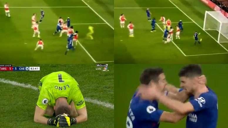 Leno commet une énorme erreur et Jorginho égalise pour Chelsea. Capture/NBC