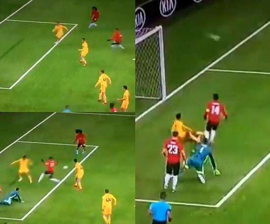 Chong missed an open net... and then Astana equalised. Captura/Movistar