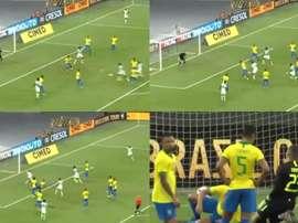 Aribo efface Marquinhos pour ouvrir le score contre le Brésil. Captures/DAZN