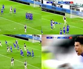 Ronaldo scored for Juventus. Screenshots/Movistar+