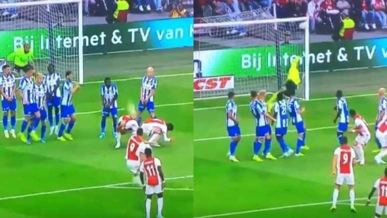 Huntelaar, Tadic et le curieux but de l'Ajax. Capture/Youtube