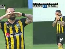 As lágrimas do filho ao eliminar a equipe do pai. Captura/TLT