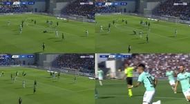 Lautaro gol contro il Sassuolo. Capturas/BeInSports