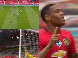 Martial made it 3-1. Capturas/DAZN
