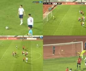 Foden scored a free-kick. Screenshots/LaOla1TV