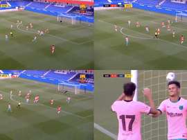 Coutinho scored for Barca. Screenshots/BarçaTV+