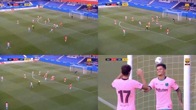 Coutinho scored for Barca. Screenshots/BarçaTV+