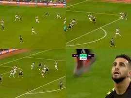 Mahrez hizo un doblete en seis minutos ante el Aston Villa. Captura/DAZN
