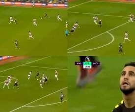 Un doublé en six minutes pour Riyad Mahrez contre Aston Villa. Capture/DAZN