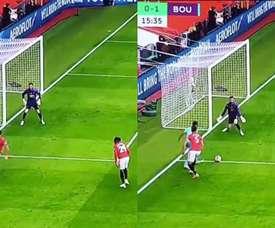 Stanislas put Bounemouth ahead versus Man Utd. Capturas/DAZN