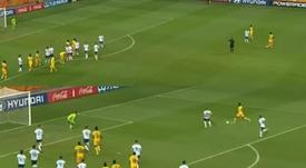 El gol que acabó eliminado a Argentina recordó al 4-0 del Liverpool al Barça. Capturas/Telemundo