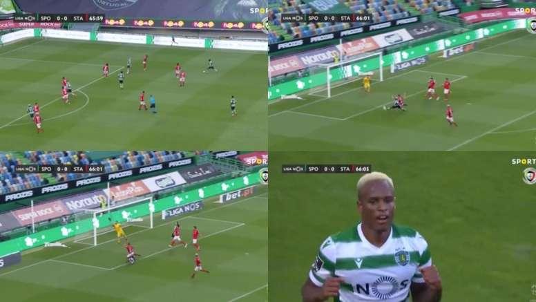 Jovane Cabrall firmó otro gol ante Santa Clara. Capturas/SportTV