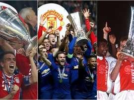 Collage de Manchester United, Ajax Amsterdam et Bayern Munich. BeSoccer