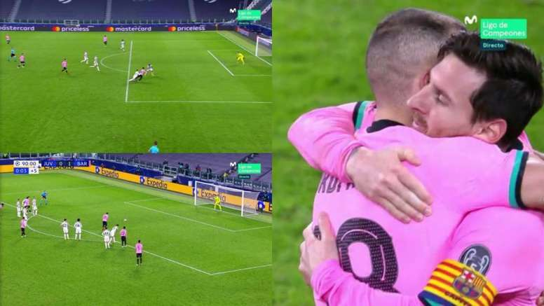 Messi killed off Juventus with a lovely penalty. Screenshot/MovistarLigaDeCampeones