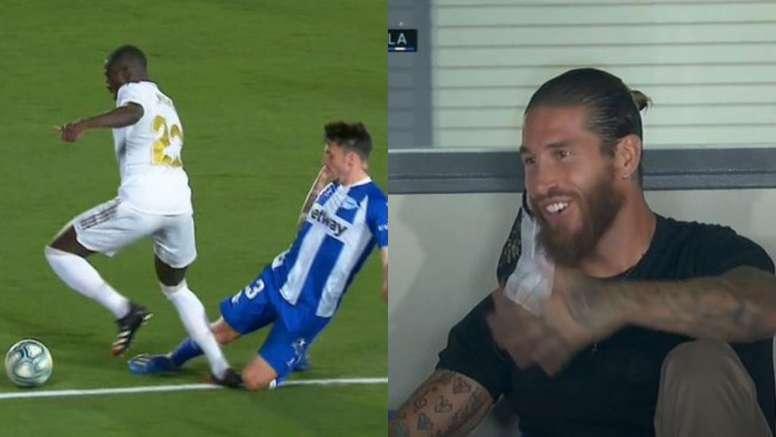 La expresiva reacción de Ramos al penalti a Mendy. Captura/Movistar+