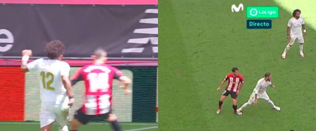 O VAR foi decisivo no Athletic Bilbao-Real Madrid. Capturas/MovistarFútbol