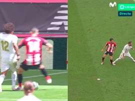 The one on the left was given a penalty while the one on the right was not. Capturas/MovistarFútbol