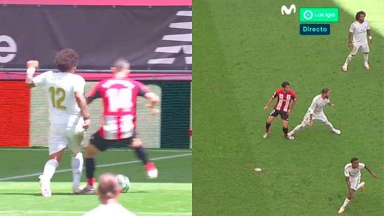 O VAR foi decisivo no Athletic Bilbao-Real Madrid. Capturas/MovistarFútbol