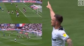 El Derby County rozó el empate en Wembley. Captura/DAZN