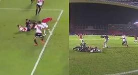 Cuando el tacón es la única solución. Capturas/CONMEBOL