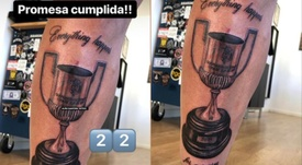 Santi Mina s'est tatoué la Coupe du Roi. Instagram/alan.tattooartist