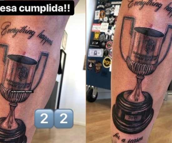 Santi Mina now had the Copa del Rey tattooed on his leg. Instagram/alan.tattooartist