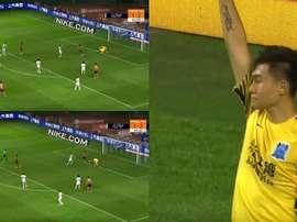 El portero no logró atajar el balón y protagonizó la cantada del partido. Captura/Goal
