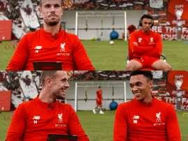 Ninguno pudo aguantar la risa tras la respuesta de Henderson. Twitter/Liverpool