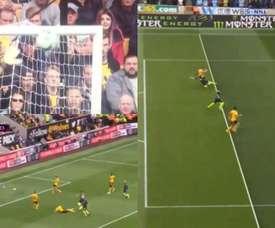 El Wolverhampton-City vivió un minuto loco. Captura/Movistar+