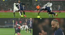 Así fue la roja de Neymar ante el Girondins. Capturas/Canal+