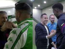 Setién e Junio recebidos com carinho pelo Betis. Captura/RealBetis