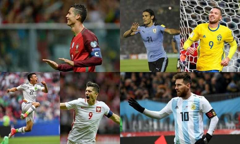 Montaje de goleadores que jugarán el Mundial. BeSoccer