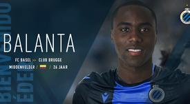 Balanta firmó con el Brujas tras tres temporadas en el Basilea. Twitter/ClubBrugge