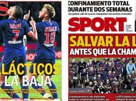 Les Unes des journaux sportifs en Espagne du 29 mars 2020. Montage as/sport