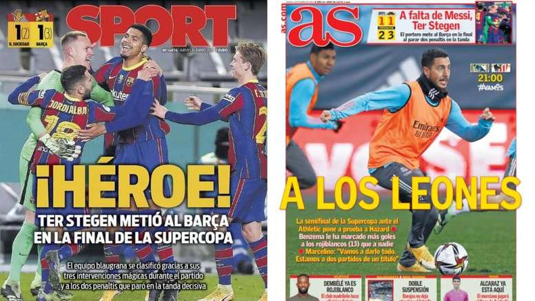 Portadas de la prensa deportiva del 14-01-21. Montaje/Sport/AS