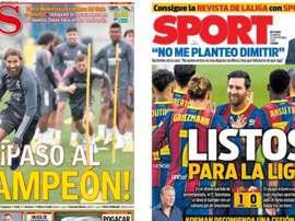 Montaje portadas AS/Sport del 20-09-20. AS/Sport