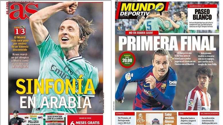 Les Unes des journaux sportifs en Espagne du 09/01/2020. Montage/AS/MundoDeportivo