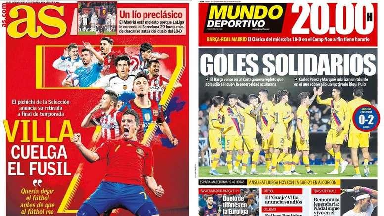 Montagem das capas dos jornais AS e Mundo Deportivo de 14-11-19. Montaje/AS/MD