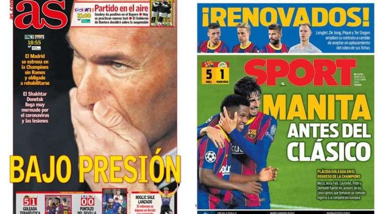 Portadas de la prensa deportiva del 21-10-20. Montaje/AS/Sport