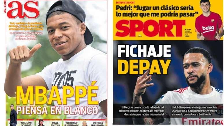 As capas da imprensa esportiva de 16 de outubro de 2020. Montagem/AS/Sport