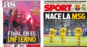Capas dos jornais AS e Sport 21-10-19. Montagem/AS/Sport