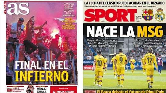 les Unes des journaux sportifs en Espagne du 21 octobre 2019. Montaje/AS/Sport