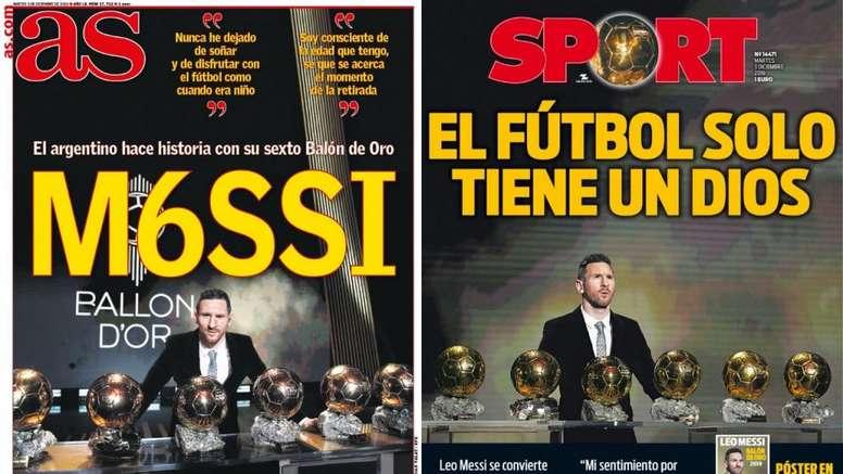 Portadas de la prensa deportiva del 03-12-19. AS/Sport