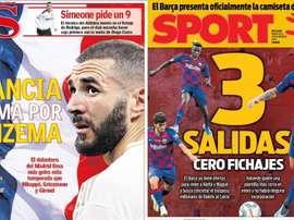 Montagem das capas dos jornais AS e Sport de 13-11-19. AS/Sport