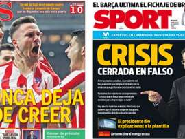 Capas dos portais AS e Sport do dia 19-02-20. AS/Sport