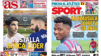 Portadas de la prensa deportiva del 19-09-21. AS/Sport