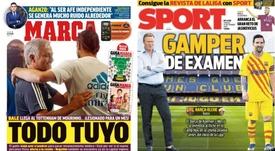 As capas da imprensa esportiva. Montaje/Marca