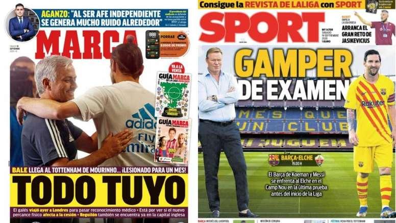 Portadas de la prensa deportiva del 19-09-20. Montaje/Marca/Sport