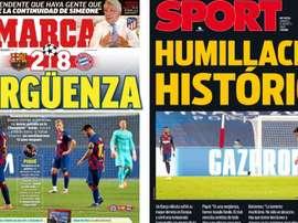 As capas da imprensa esportiva. Montaje/Marca/Sport